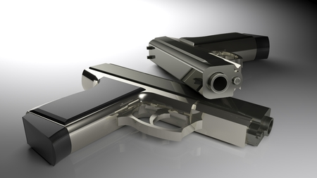 Two guns laying on a white glossy table - 3D rendering illustration