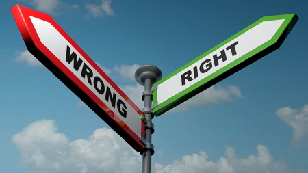 Wrong - Right street arrows - 3D rendering illustration Stok Fotoğraf