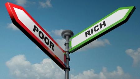 Poor - Rich street arrow signs - 3D rendering illustration