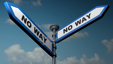 No way - No way blue street arrows - 3D rendering illustration
