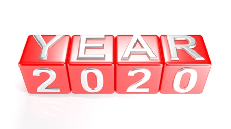 Year 2020 on red cubes - 3D rendering