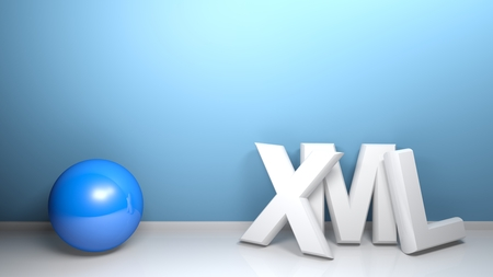 XML white 3D write at blue wall with a blue sphere - 3D rendering