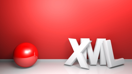 XML white 3D write at red wall with a red sphere - 3D rendering