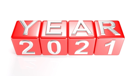 Year 2021 on red cubes - 3D rendering Stok Fotoğraf