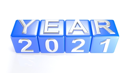 Year 2021 on blue cubes - 3D rendering