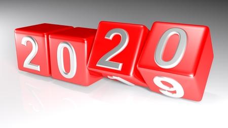 Cubi che cambiano dal 2019 al 2020 - Rendering 3D Archivio Fotografico