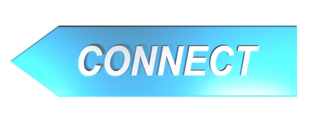 CONNECT on blue arrow - 3D rendering