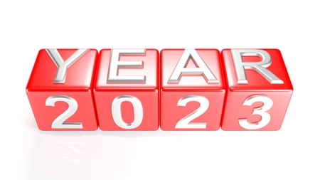 Year 2023 on red cubes - 3D rendering Stok Fotoğraf
