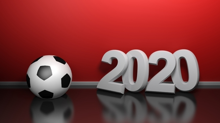 2020 at red wall with soccer ball - 3D rendering illustration Banco de Imagens - 121890006
