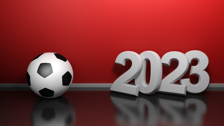 2023 at red wall with soccer ball - 3D rendering illustration Banco de Imagens - 121890046
