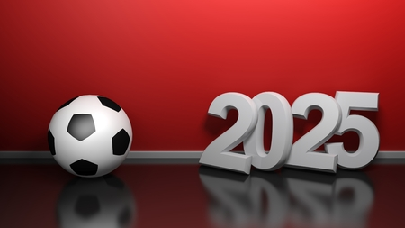 2025 at red wall with soccer ball - 3D rendering illustration Banco de Imagens - 121889996