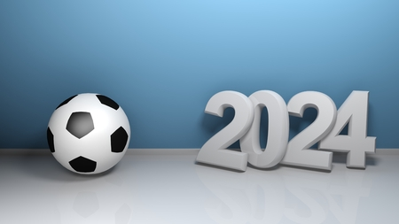2024 at blue wall with soccer ball - 3D rendering illustration