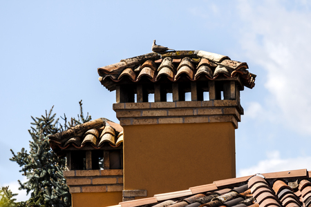 Roof with chimneys under a blue sky
