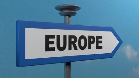 Blue arrow street sign EUROPE - 3D rendering illustration