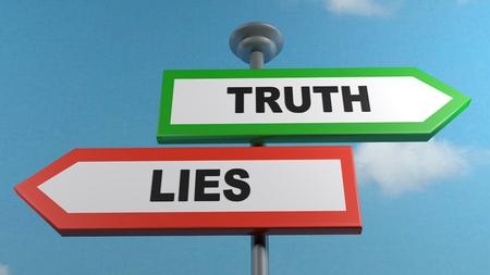 Truth and lies street sign post - 3D rendering illustration Reklamní fotografie - 122663403