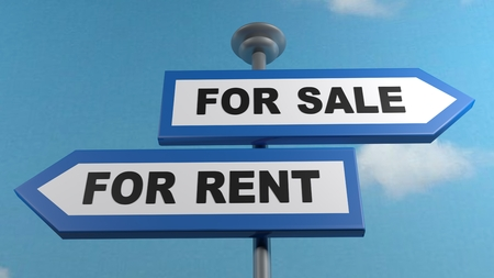 For Rent - For Sale street arrows sign post - 3D rendering illustration