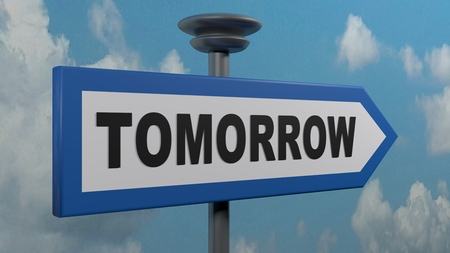 Tomorrow blue arrow street sign - 3D rendering illustration