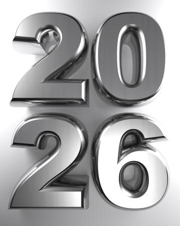 2026 iin metallic chrome 3D letters - 3D rendering