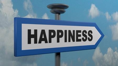 Happiness blue arrow street sign - 3D rendering illustration