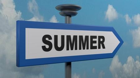 SUMMER blue arrow street sign - 3D rendering illustration