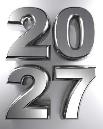 2027 iin metallic chrome 3D letters - 3D rendering Imagens