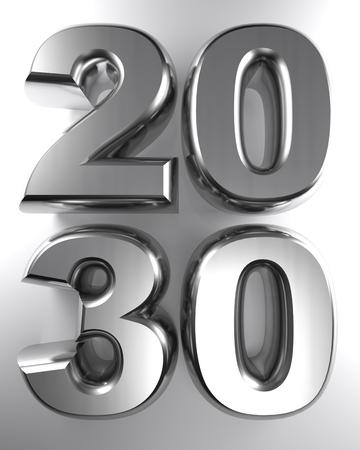 2030 in metallic chrome 3D letters - 3D rendering