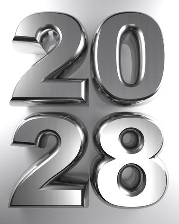2028 in metallic chrome 3D letters - 3D rendering