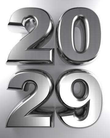 2029 in metallic chrome 3D letters - 3D rendering Imagens