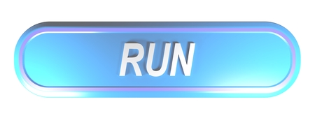 RUN blue rounded rectangle push button - 3D rendering illustration