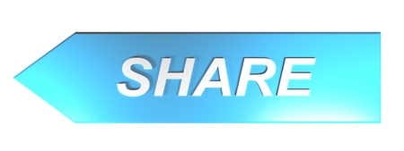 SHARE on blue arrow - 3D rendering