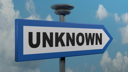 UNKNOWN arrow street sign - 3D rendering illustration Imagens