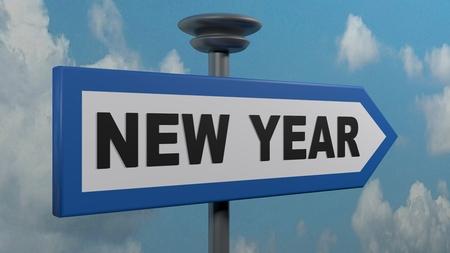 Blue arrow street sign NEW YEAR - 3D rendering illustration