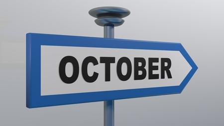 OCTOBER blue arrow street sign - 3D rendering illustration