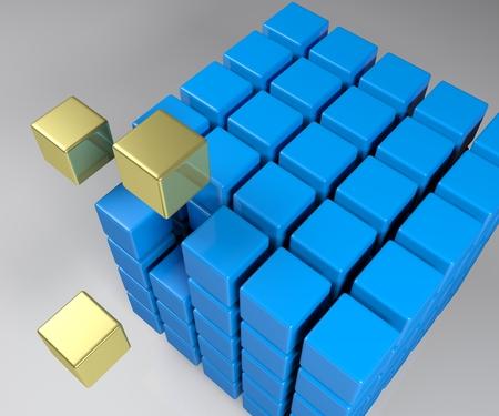 Aggregation concept cube - 3D rendering illustration