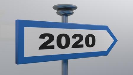 2020 street arrow sign - 3D rendering illustration
