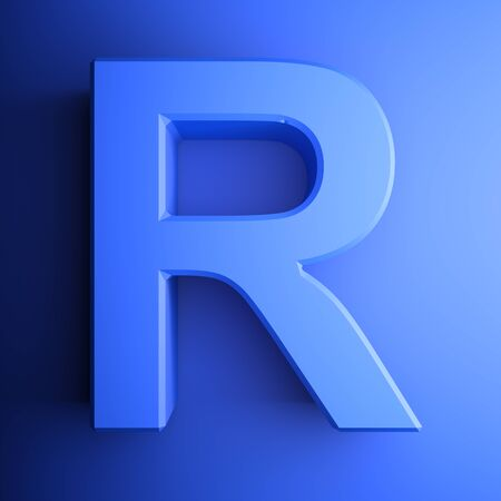 R alphabetic letter blue, isolated on blue background - 3D rendering illustration