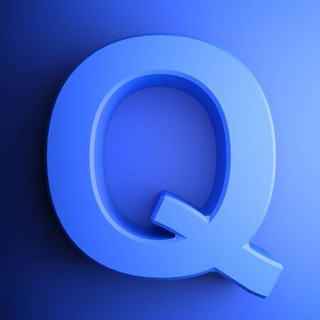 Q alphabetic letter blue, isolated on blue background - 3D rendering illustration Banque d'images - 127984343