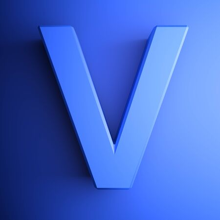 V alphabetic letter blue, isolated on blue background - 3D rendering illustration Banque d'images - 127984344
