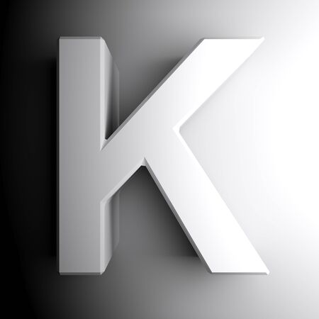 K white letter isolated on white background - 3D rendering illustration Banque d'images - 127984345