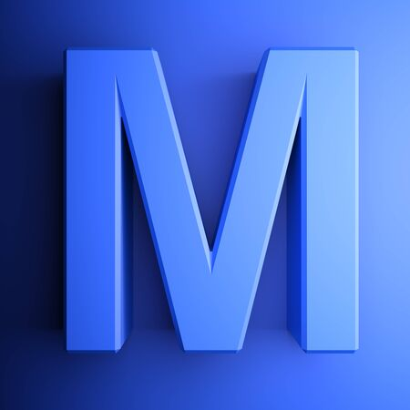 M alphabetic letter blue, isolated on blue background - 3D rendering illustration