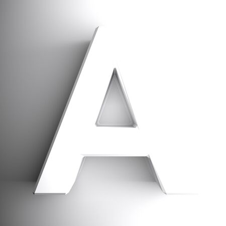 A alphabetic letter white, isolated on white background - 3D rendering illustration