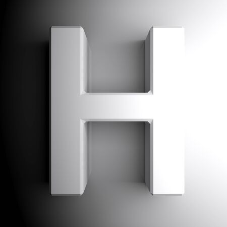H white letter isolated on white background - 3D rendering illustration Banque d'images - 127984354