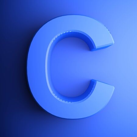 C alphabetic letter blue, isolated on blue background - 3D rendering illustration Banque d'images - 127984353