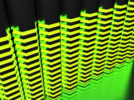 Abstract background with hexagonal green lighted bars - 3D rendering illustration