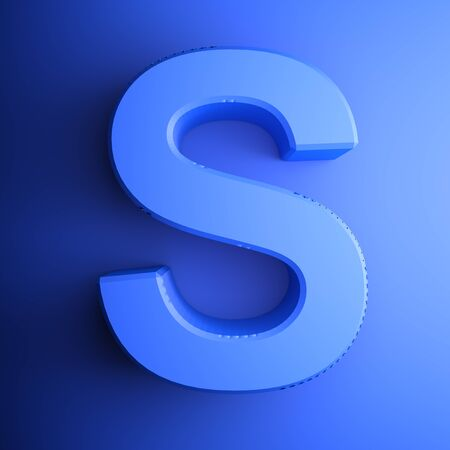 S alphabetic letter blue, isolated on blue background - 3D rendering illustration