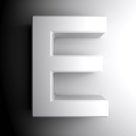 E white letter isolated on white background - 3D rendering illustration Banque d'images - 127984357