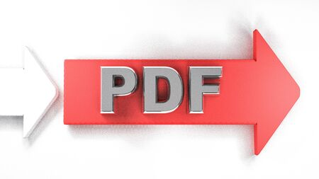 PDF red arrow to the right, with metallic chrome write - 3D rendering illustration Banco de Imagens