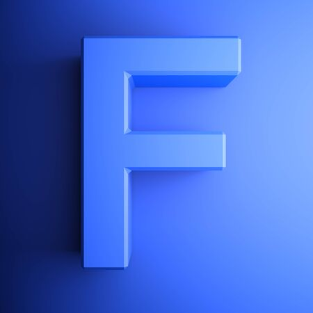 F alphabetic letter blue, isolated on blue background - 3D rendering illustration Banque d'images - 127984453