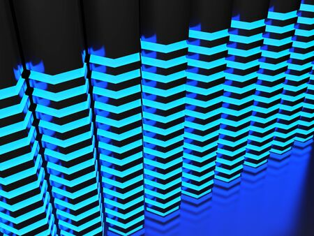 Abstract background with hexagonal blue lighted bars - 3D rendering illustration