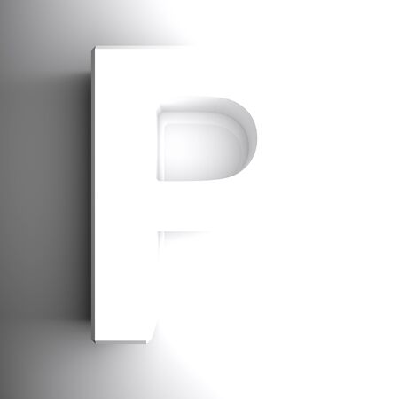 P white letter isolated on white background - 3D rendering illustration Banque d'images - 127984469